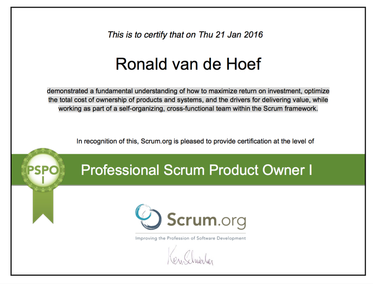 certificaat professional scrum product owner Ronald priom